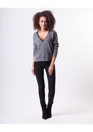 V-NECK SWEATER WITH LACE DETAIL