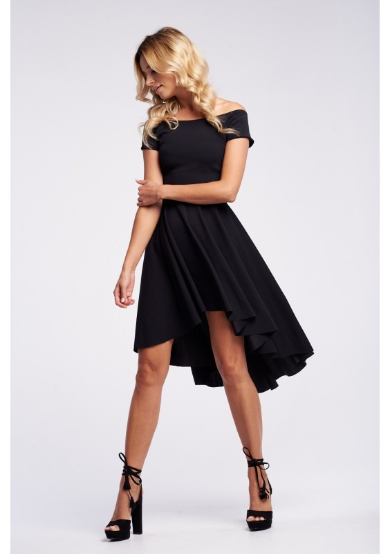 OFF SHOULDER DRESS WITH ASYMMETRIC SKIRT
