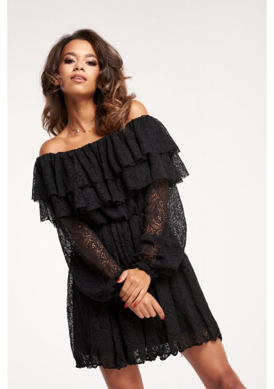LACE DRESS WITH FRILLS