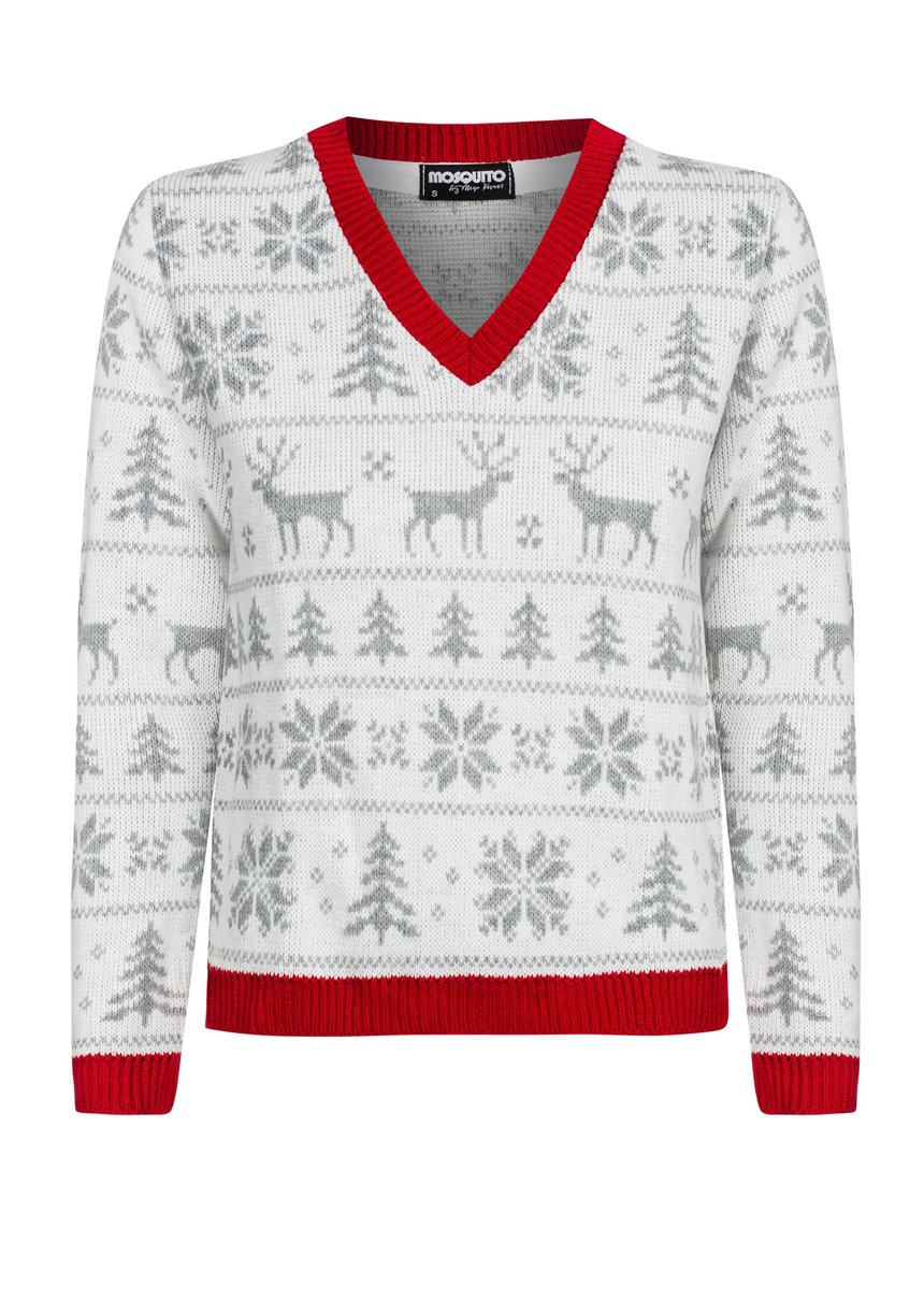 WINTER TIME SWEATER WITH RED EDGES