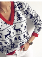 SWETER  WHITE RED DETAILS