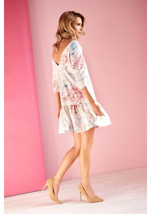 PASTEL FLOWERS PRINT DRESS WITH FRILL