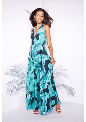 MAXI DRESS IN BLACK BANANAS PRINT