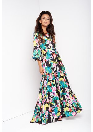 BLACK EXOTIC FLOWERS PRINT MAXI DRESS WITH BELT