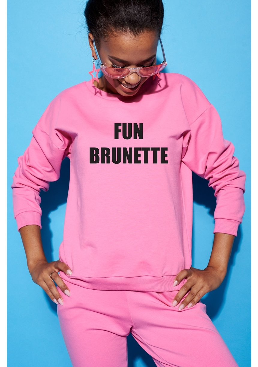 "SWEATSHIRT SLOGAN ""FUN BRUNETTE"" ILM"
