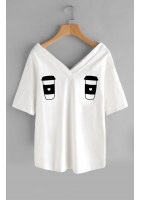 "T-SHIRT V NECK ""COFFE"" ILM"