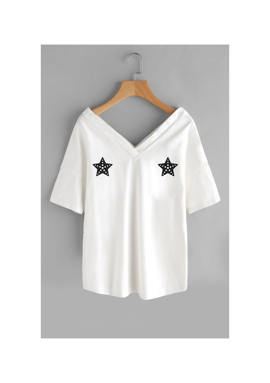 "T-SHIRT V NECK ""STARS"" ILM"
