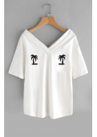 "T-SHIRT V NECK ""PALMS"" ILM"