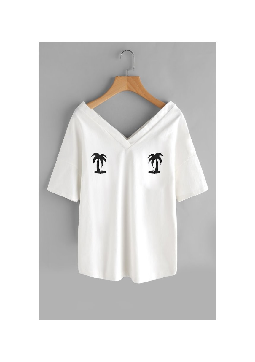 "T-SHIRT V NECK ""PALMS""ILM"