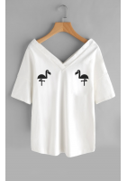 "T-SHIRT V NECK ""FLAMINGOS""ILM"