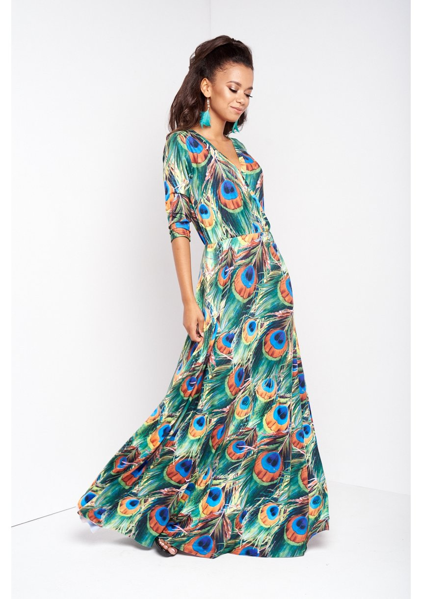 MAXI DRESS IN COLORS LEAVES PRINT