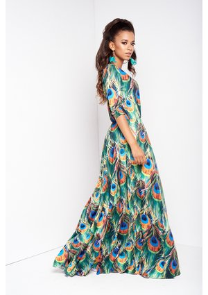 MAXI DRESS IN PEACOCK FEATHERS PRINT