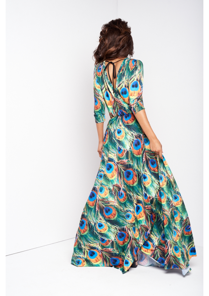 MAXI DRESS IN PEACOCK FEATHERS PRINT - Mosquito