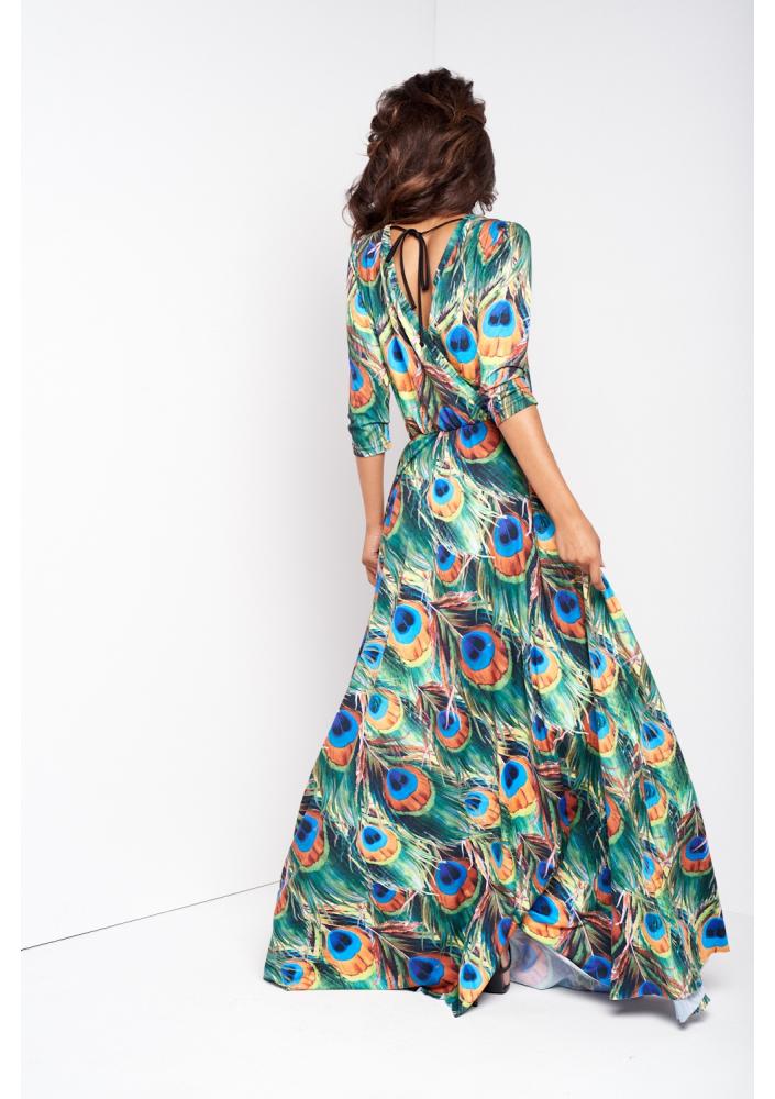 29cb0b47c8 Koloowa sukienka maxi z rękawem na jesień
