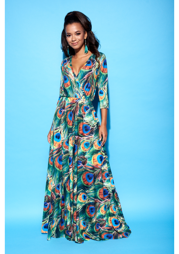 Maxi Dress In Peacock Feathers Print Mosquito