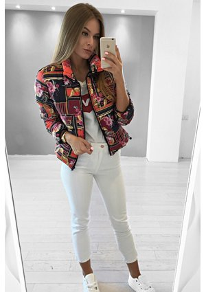 RED ORNAMENT PRINT JACKET ILM