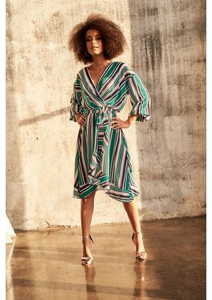 CROSSOVER DRESS IN GREEN STRIPES PRINT