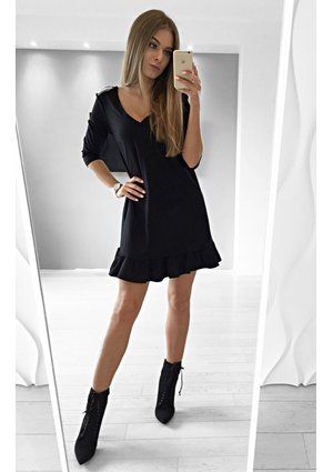 V-NECK DRESS WITH FRILL