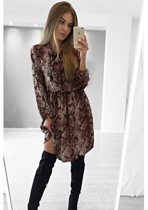 SNAKE PRINT DRESS WITH  BOW