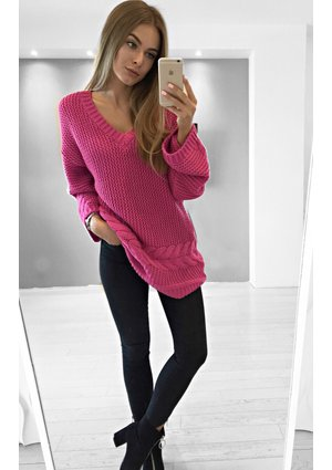 OVERSIZED SWEATER WITH CABLE KNIT ILM