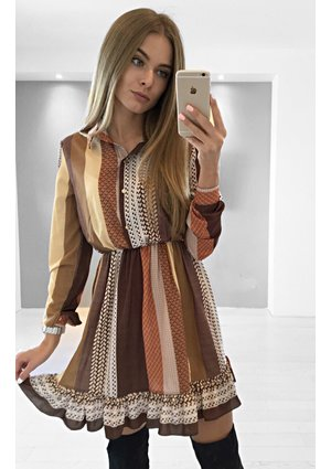 BROWN SHIRT DRESS WITH COLLAR
