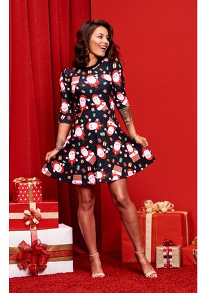 LOOSE DRESS IN SANTA CLAUS PRINT