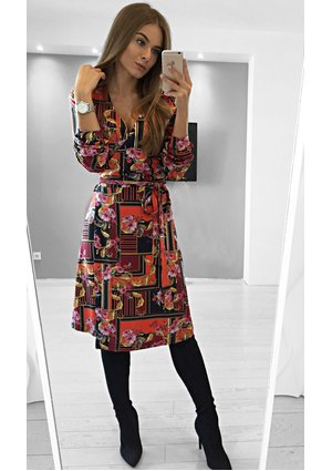 MIDI DRESS INRED ORNAMENT PRINT