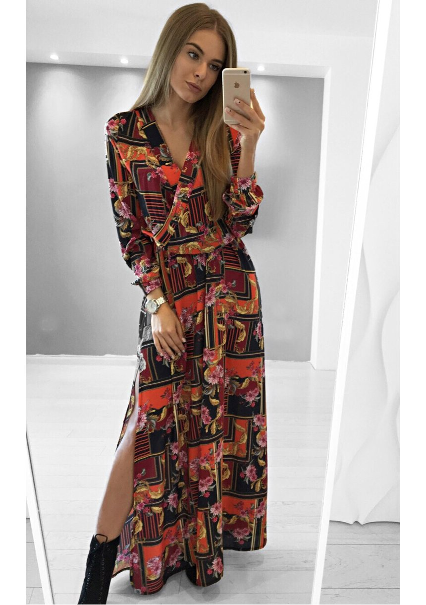 CROSSOVER MAXI DRESS IN RED ORNAMENT PRINT