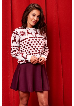 BURGUNDY HEARTS WINTER SWEATER ILM A30