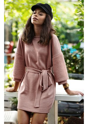 SWEATER TUNIC WITH FUR SLEEVES