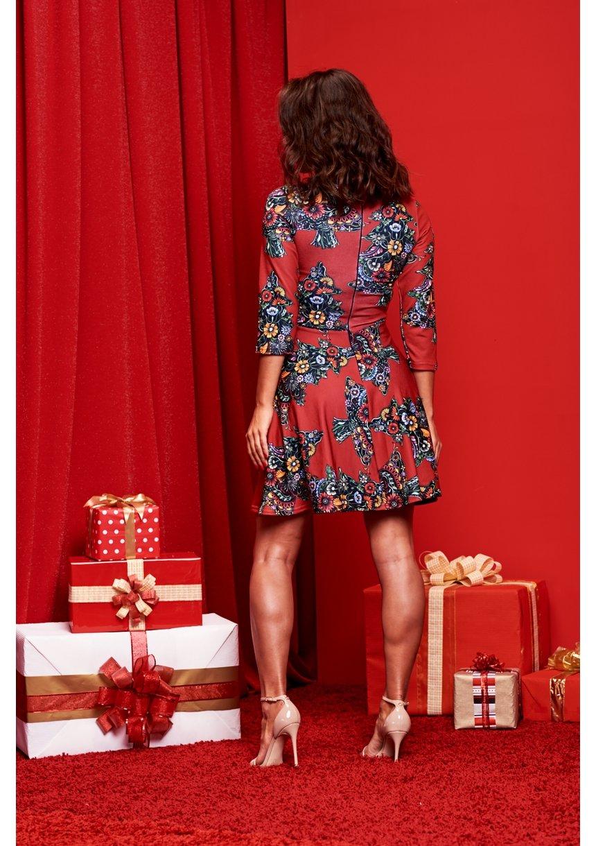 DRESS  CHRISTMAS RED PRINT  ILM