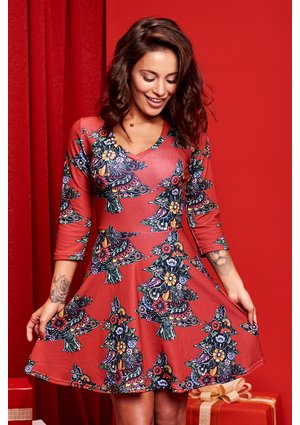 RED CHRISTMAS PRINT DRESS ILM
