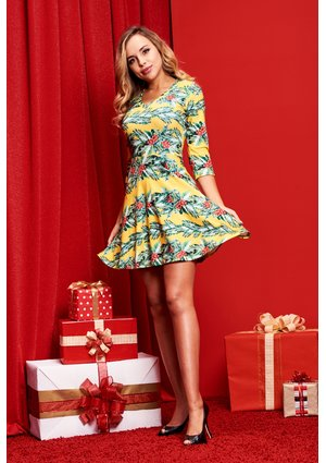 DRESS CHRISTMAS YELLOW PRINT  ILM