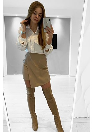 FAUX LEATHER ASYMMETRIC SKIRT