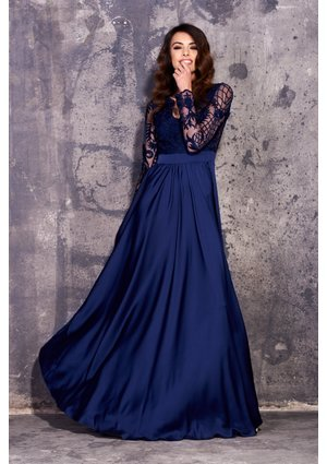 SATIN MAXI DRESS WITH GUIPURE TOP