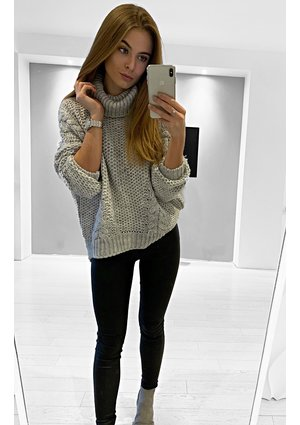 CABLE KNIT SWEATER WITH TURTLNECK ILM  P01