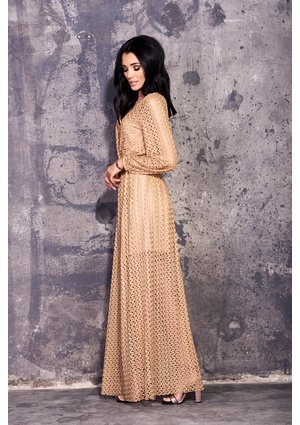 MAXI GOLD LACE DRESS