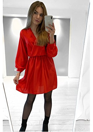 CROSSOVER SATIN DRESS