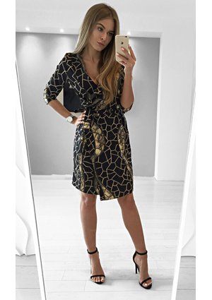 CROSSOVER DRESS WITH BELT