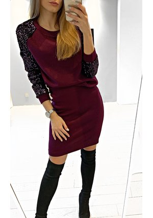 SEQUINS SLEEVES TOP WITH SKIRT