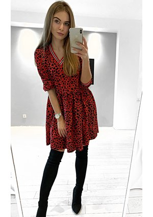 RED LEOPARD PRINT DRESS