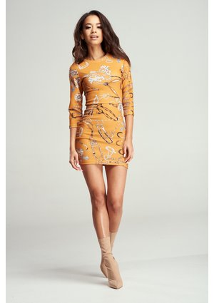 BODYCON YELLOW PRINT DRESS