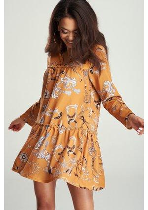 SMOCK DRESS IN YELLOW PRINT