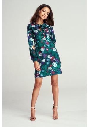 SHIFT GREEN DRESS IN FLOWERS PRINT