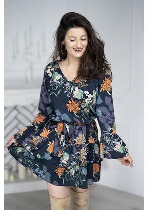 NAVY DRESS IN FLOWERS PRINT