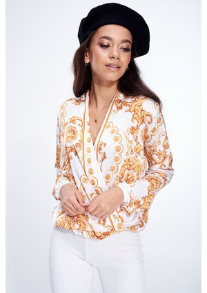 GOLD ORNAMENT PRINT CROSSOVER BLOUSE