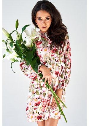 SATIN HIGH NECK DRESS IN FLOWERS PRINT