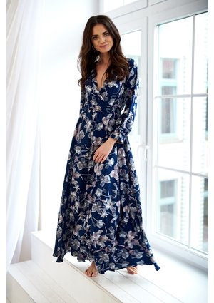 MAXI DRESS IN NAVY FLOWERS PRINT