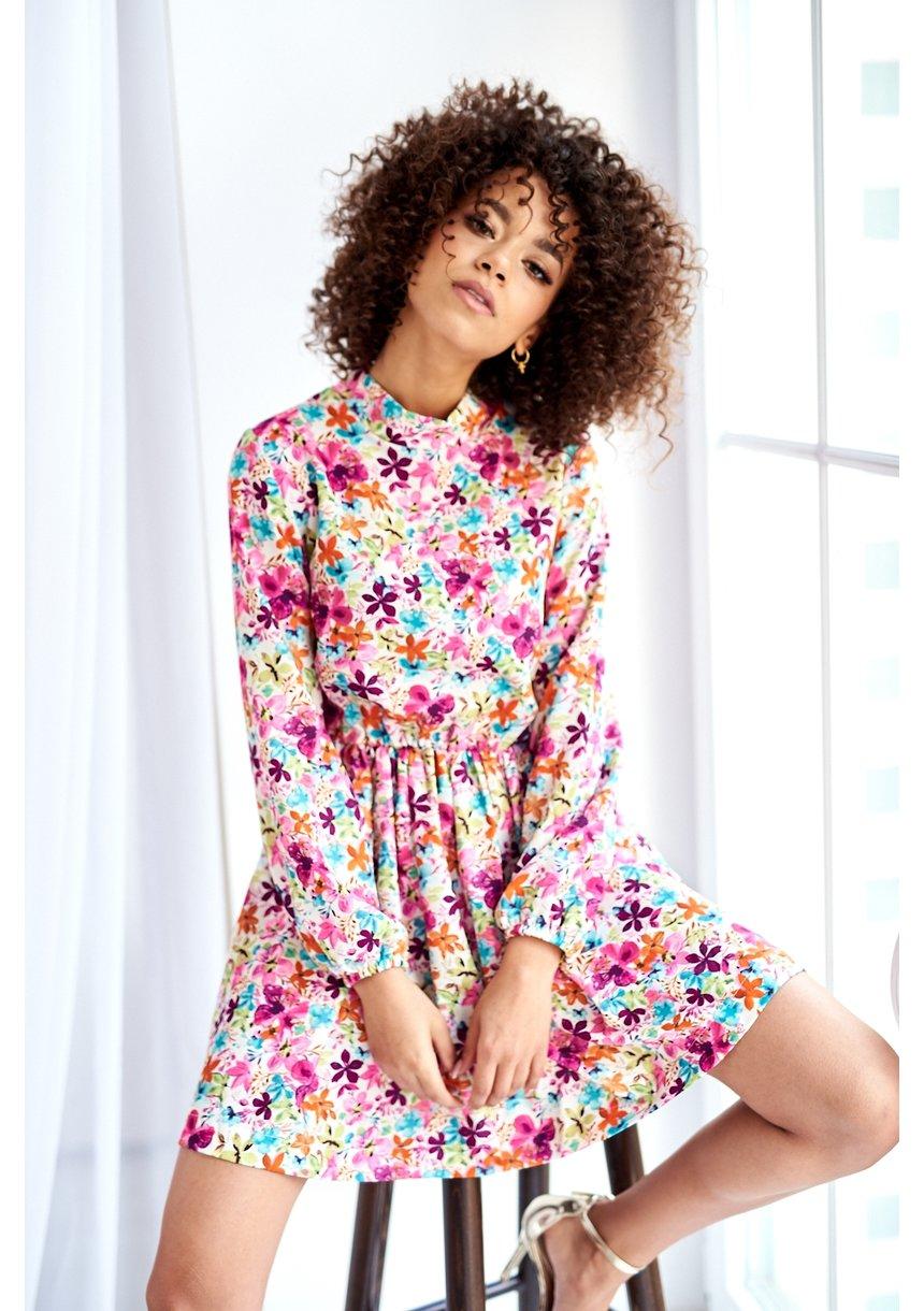 FLOWERS PRINT HIGH NECK DRESS