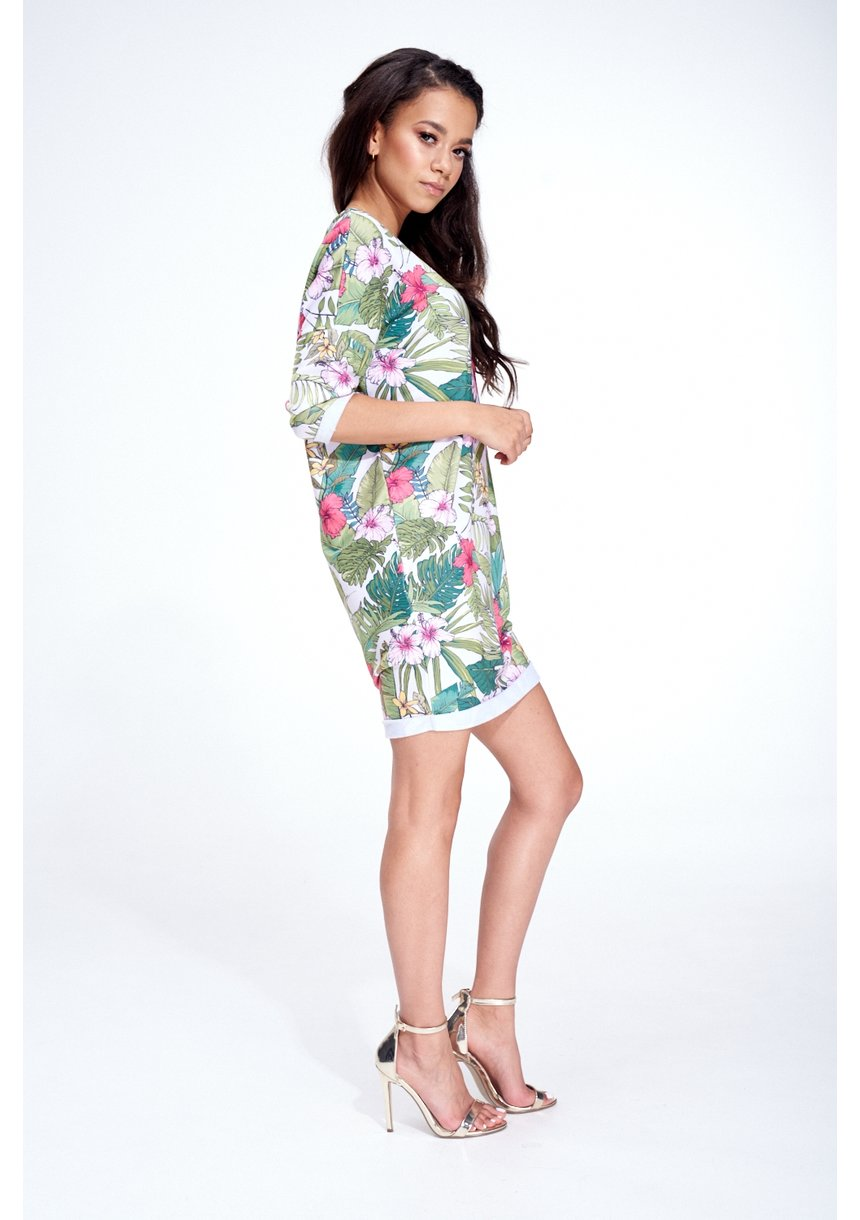 FLOWER WHITE PRINT TUNIC ILM